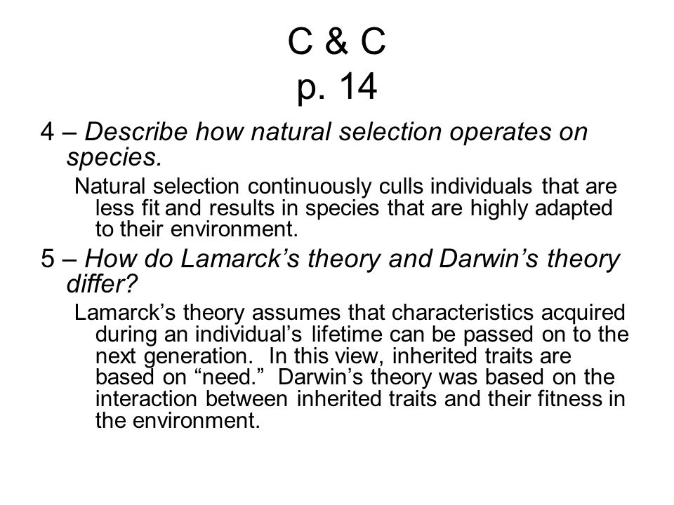 C & C p. 14 4 – Describe how natural selection operates on species.