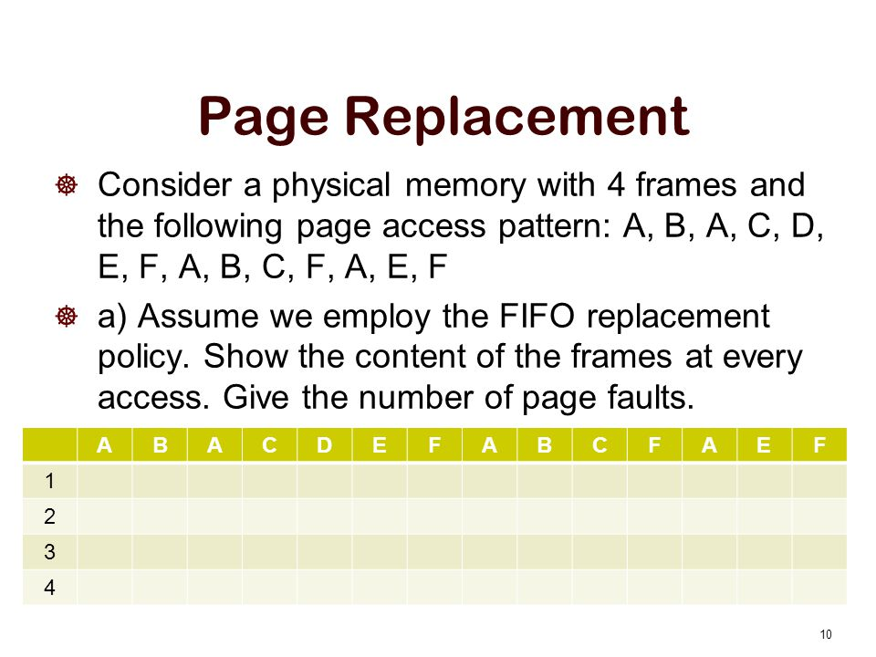 Page Replacement Consider a physical memory with 4 frames and the following page access pattern: A, B, A, C, D, E, F, A, B, C, F, A, E, F.