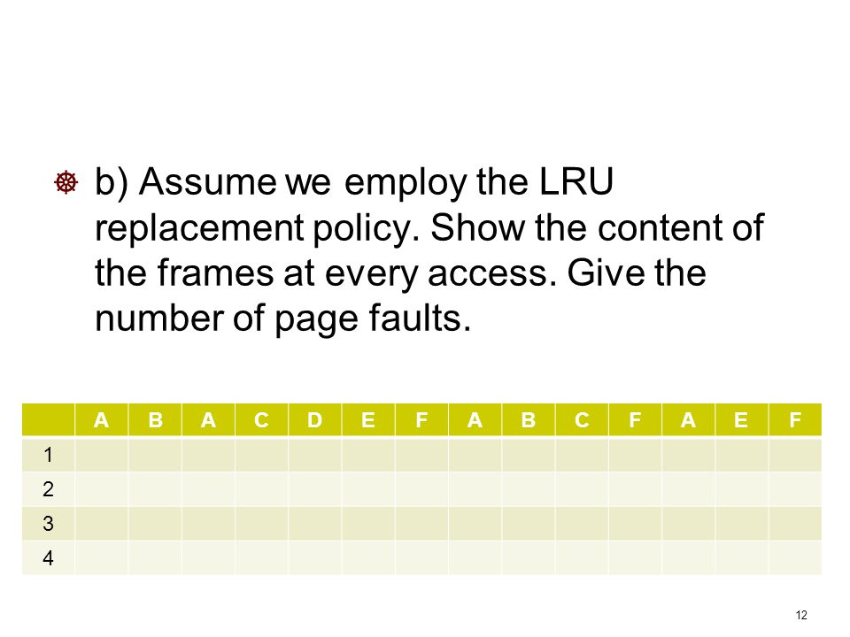 b) Assume we employ the LRU replacement policy