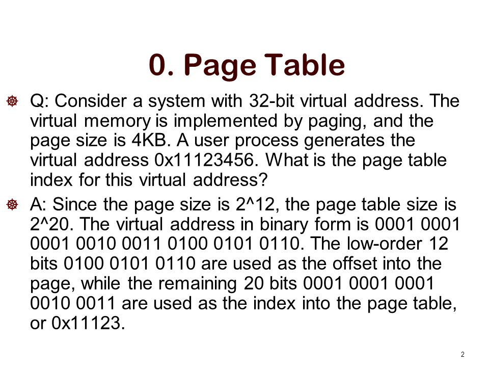 0. Page Table