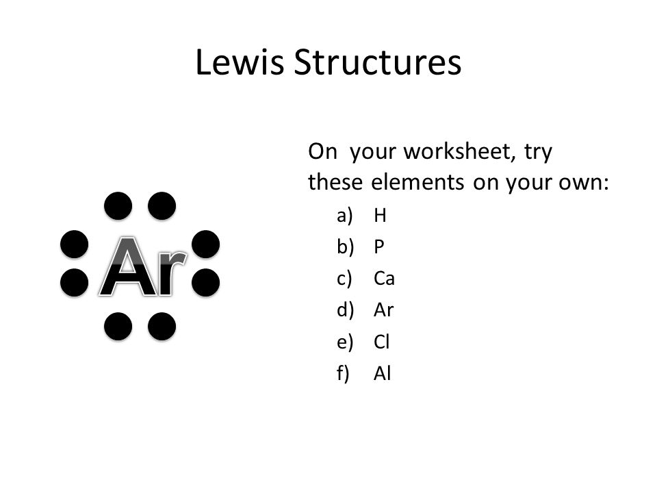 Ar Lewis Structures On your worksheet, try these elements on your own: