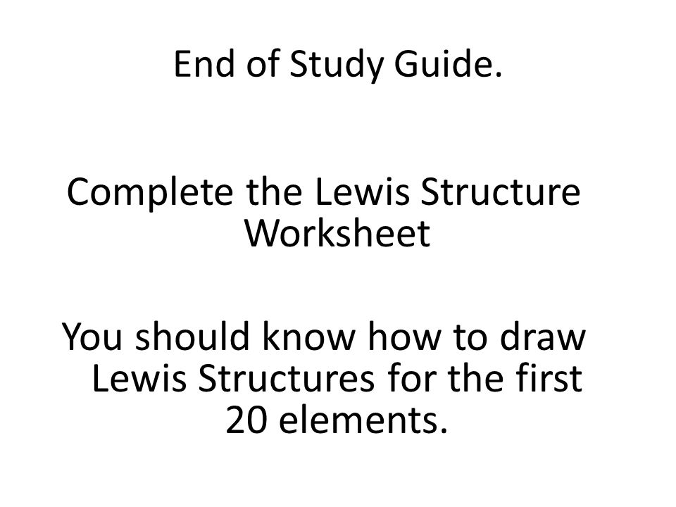End of Study Guide.