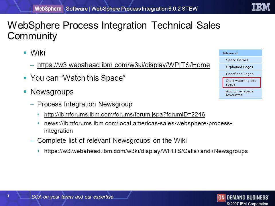 WebSphere Process Integration Technical Sales Community