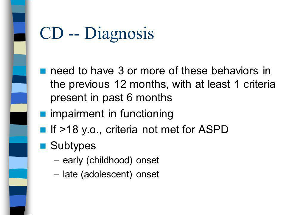 CD -- Diagnosis need to have 3 or more of these behaviors in the previous 12 months, with at least 1 criteria present in past 6 months.