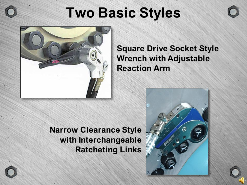 Two Basic Styles Square Drive Socket Style Wrench with Adjustable Reaction Arm.