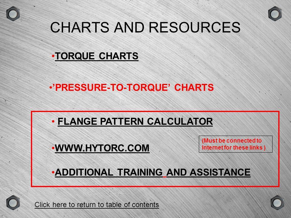 CHARTS AND RESOURCES TORQUE CHARTS 'PRESSURE-TO-TORQUE' CHARTS