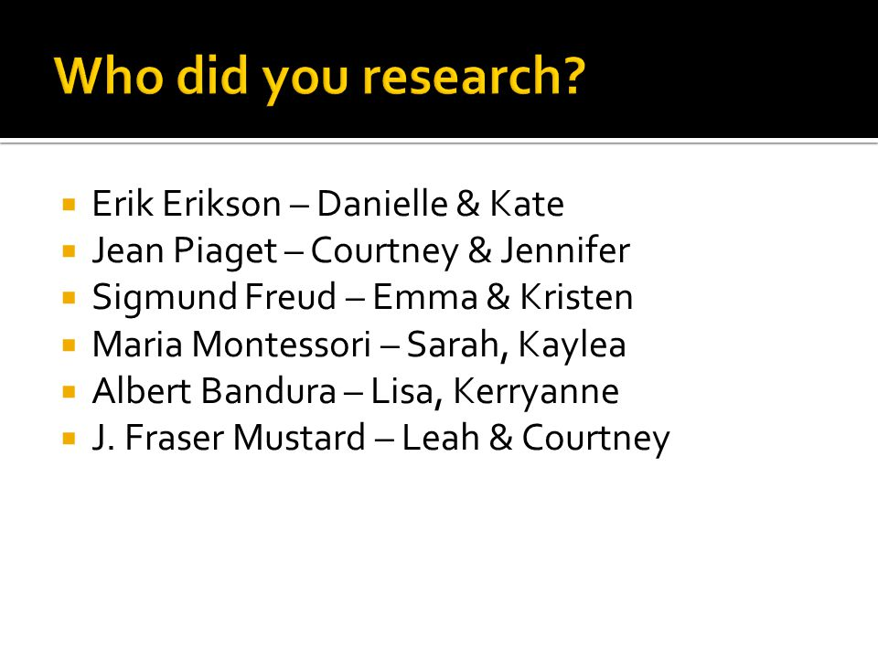 Who did you research Erik Erikson – Danielle & Kate