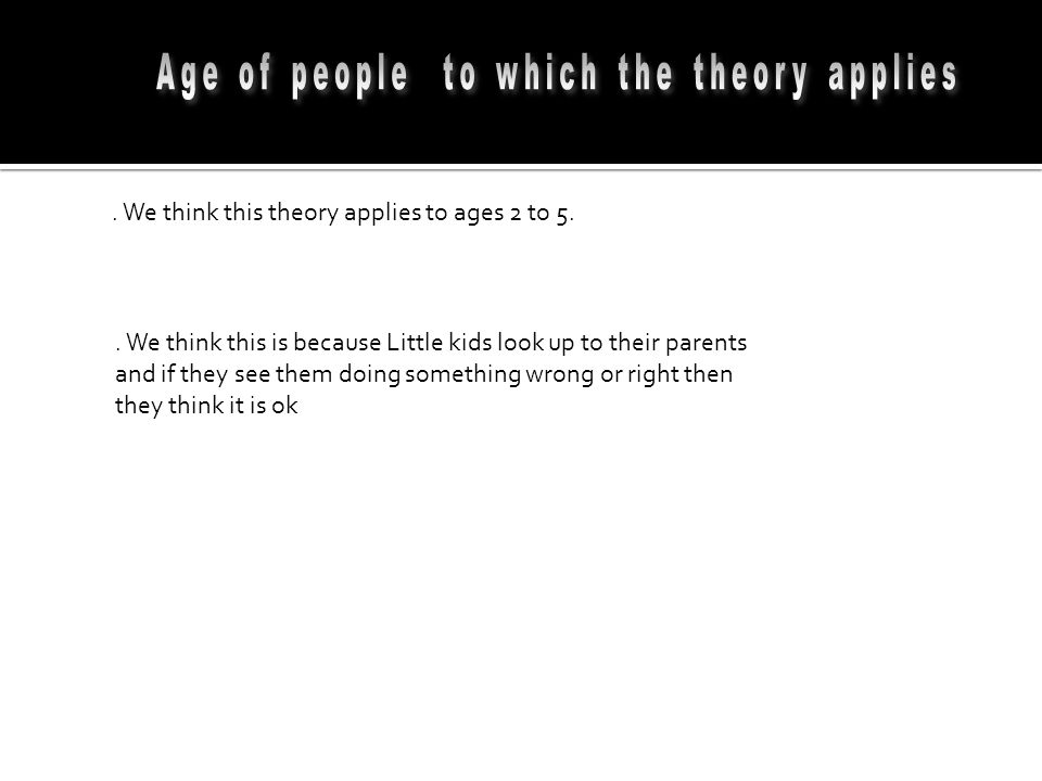 Age of people to which the theory applies