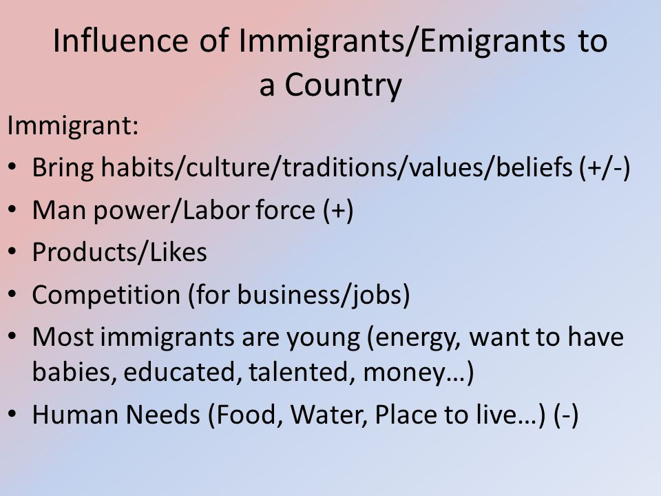 Influence of Immigrants/Emigrants to a Country
