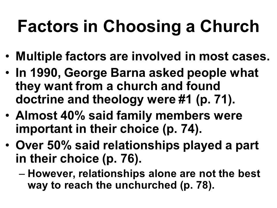 Factors in Choosing a Church
