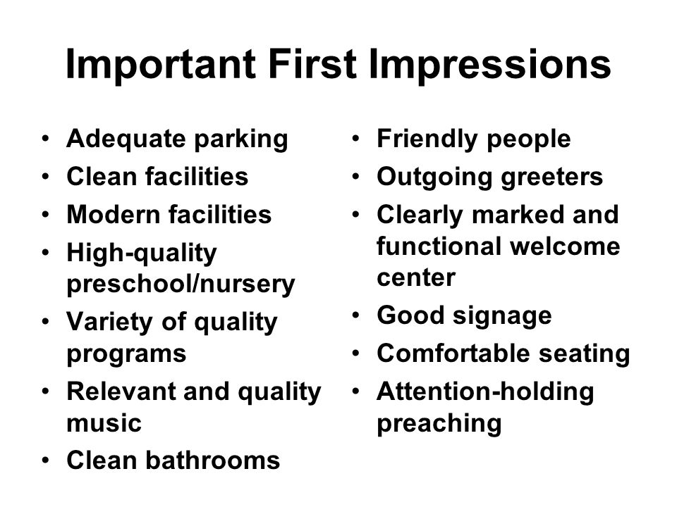 Important First Impressions