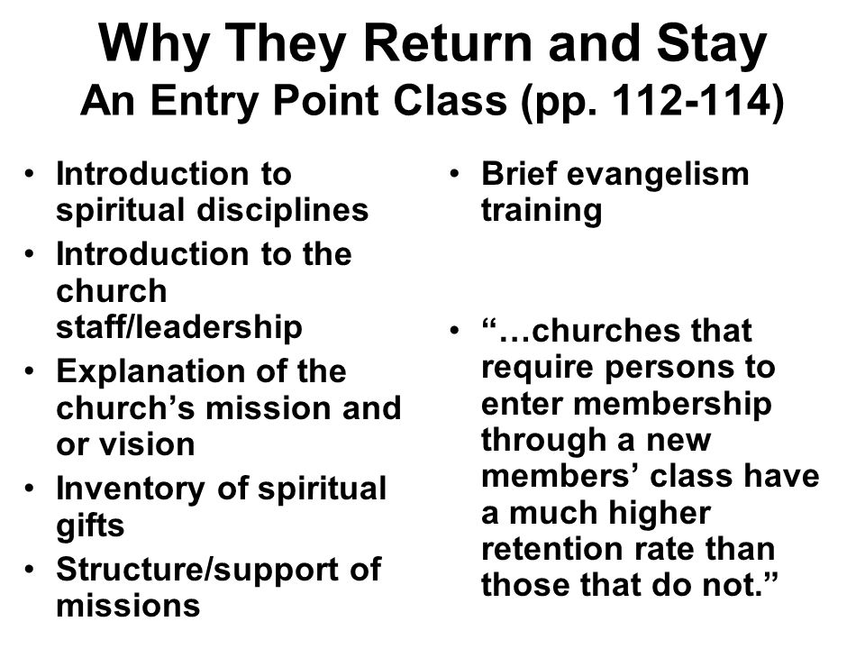 Why They Return and Stay An Entry Point Class (pp. 112-114)