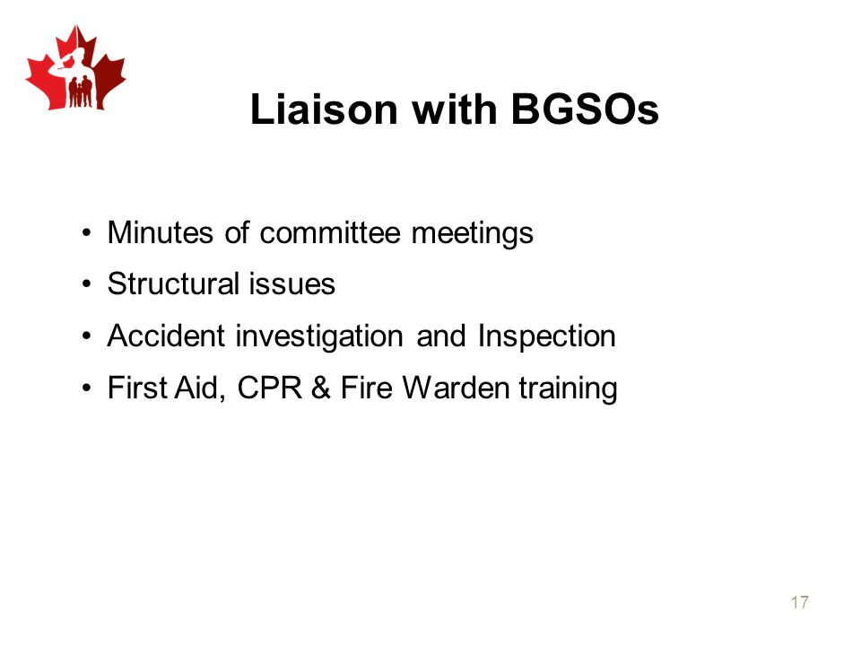 Liaison with BGSOs Minutes of committee meetings Structural issues