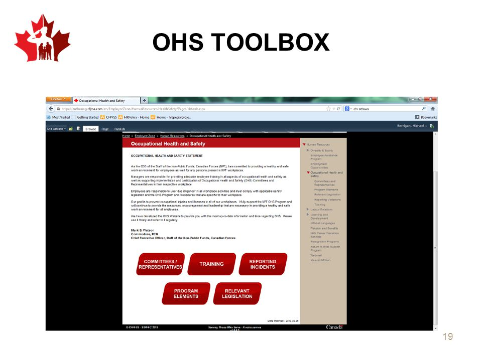 OHS TOOLBOX Each tab will open the different elements and lead you to the tools within.