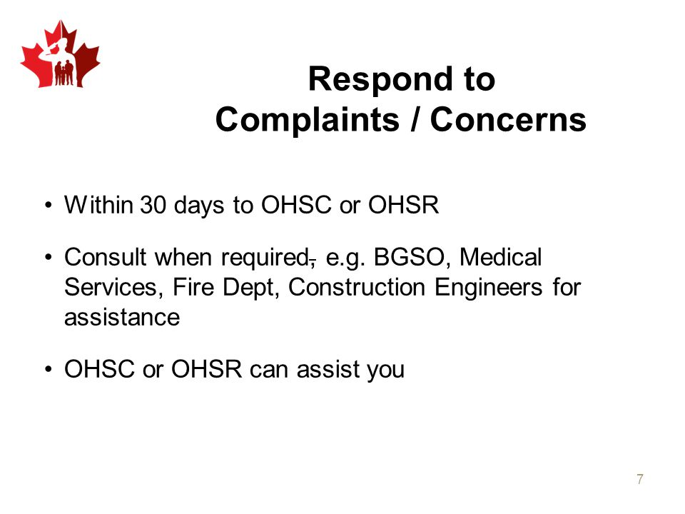 Respond to Complaints / Concerns