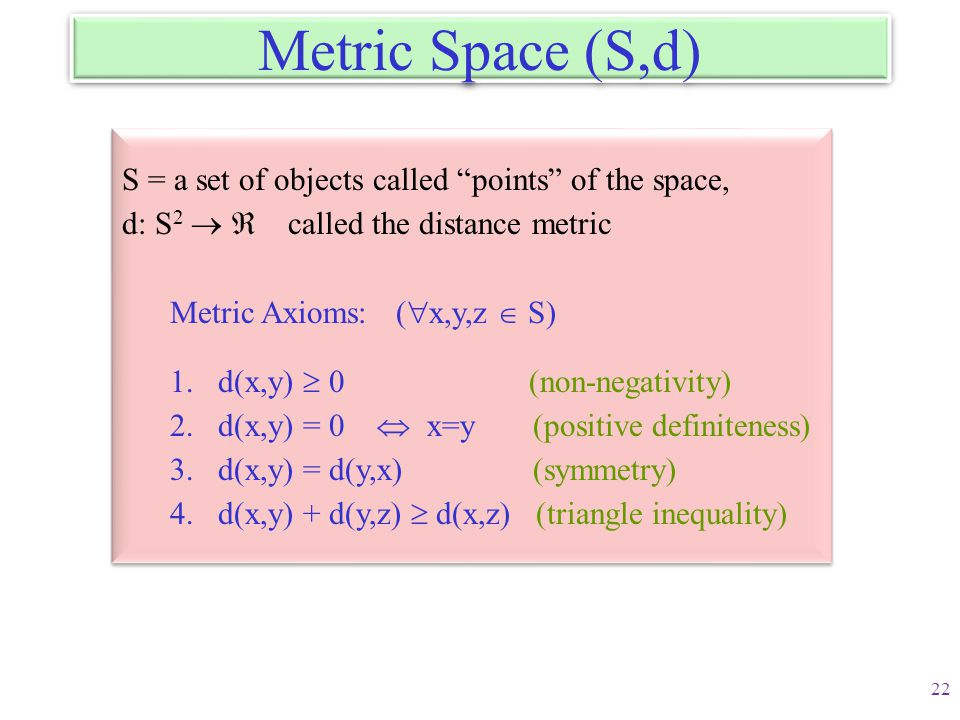 Metric Space (S,d) S = a set of objects called points of the space,