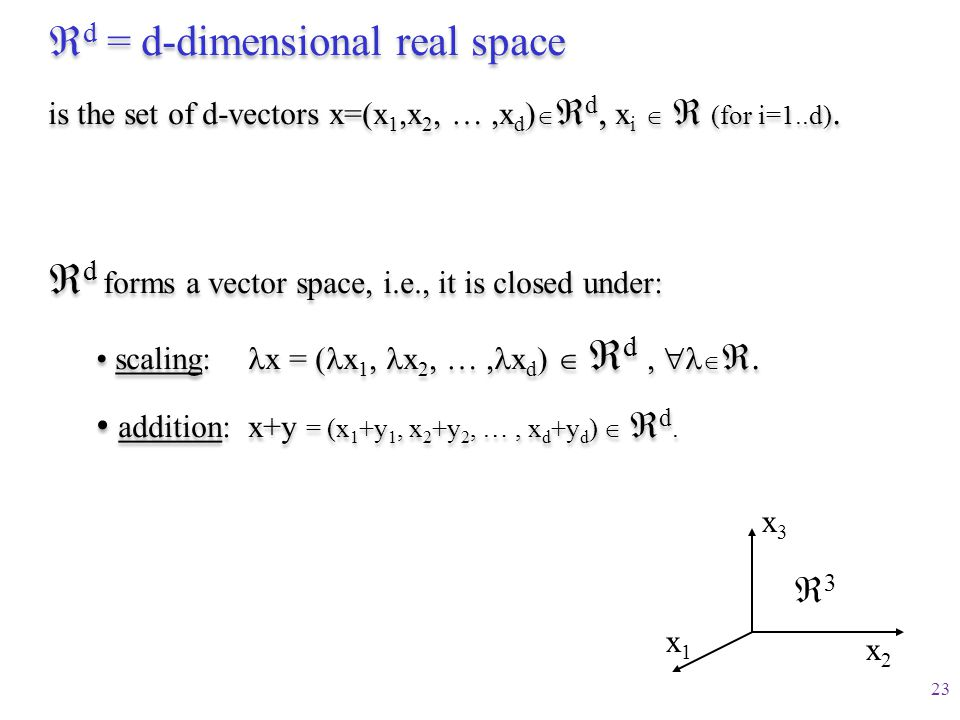 d = d-dimensional real space