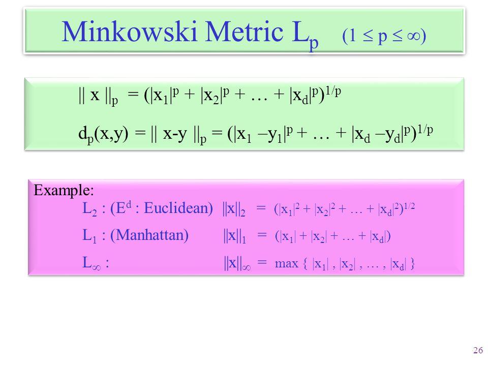 Minkowski Metric Lp (1  p  )