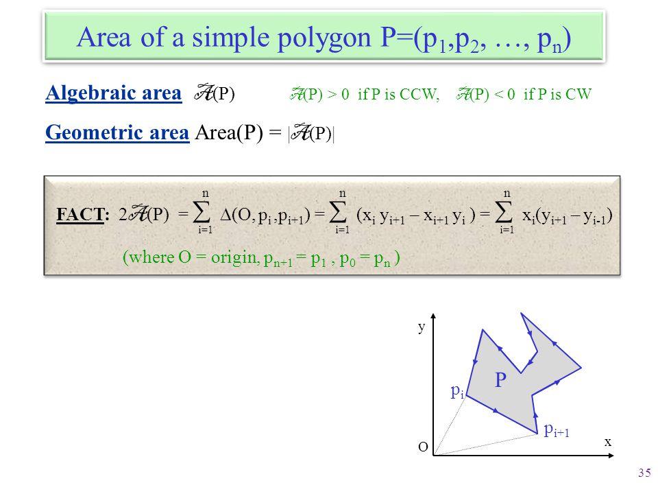 Area of a simple polygon P=(p1,p2, …, pn)