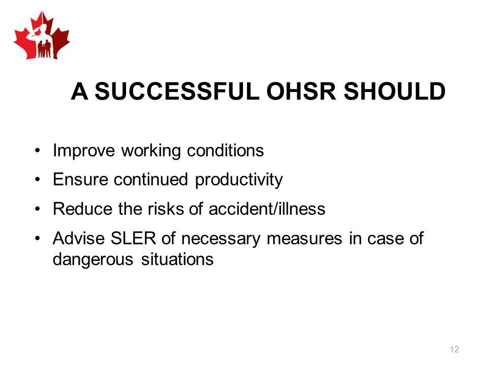 A SUCCESSFUL OHSR SHOULD