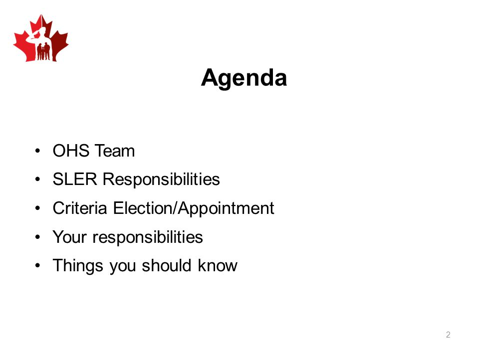 Agenda OHS Team SLER Responsibilities Criteria Election/Appointment