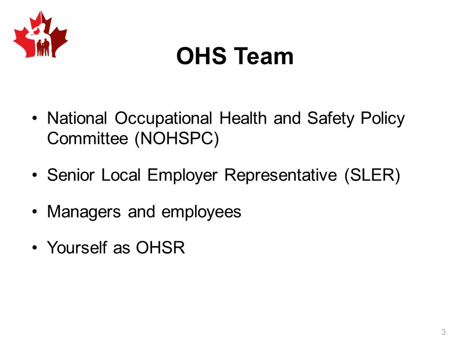 OHS Team National Occupational Health and Safety Policy Committee (NOHSPC) Senior Local Employer Representative (SLER)