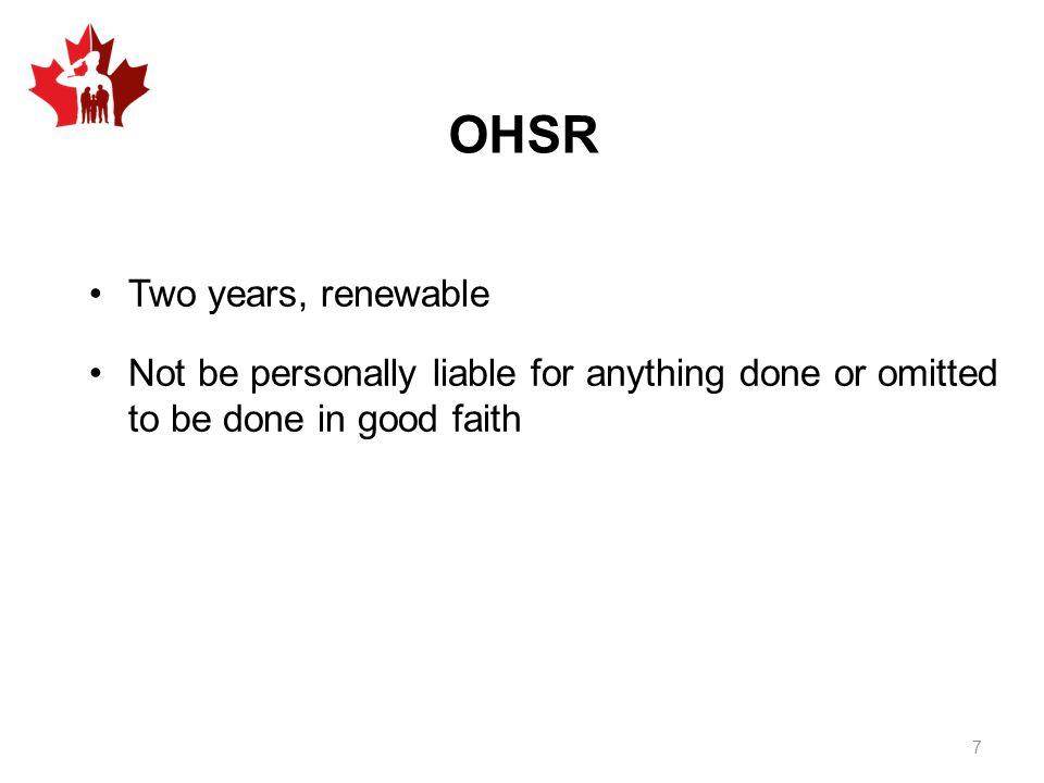 OHSR Two years, renewable