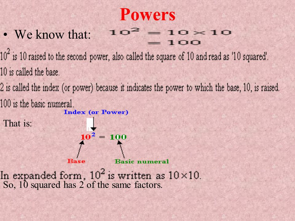 Powers We know that: That is: