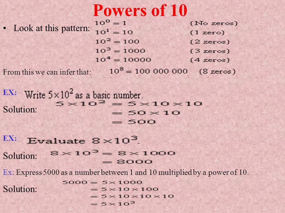 Powers of 10 Look at this pattern: Solution: Solution: Solution: