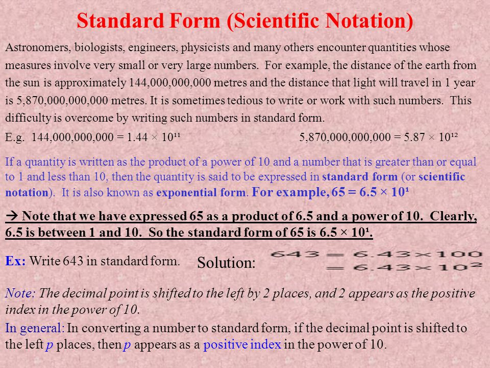 Standard Form (Scientific Notation)