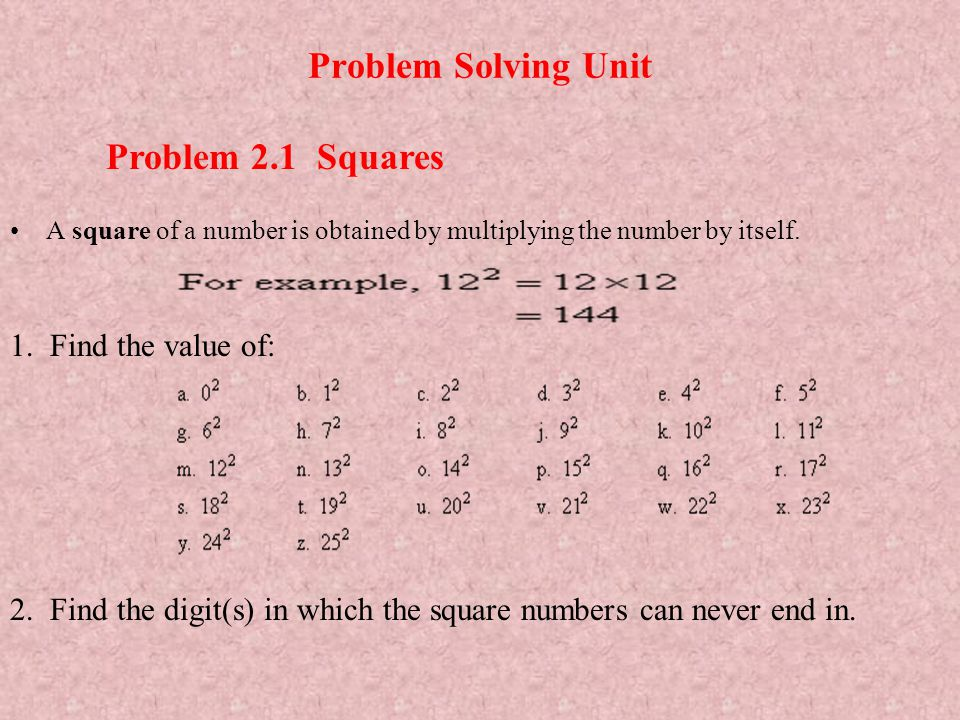 Problem Solving Unit Problem 2.1 Squares 1. Find the value of: