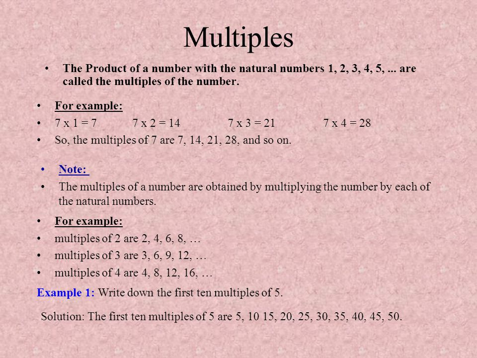 Multiples The Product of a number with the natural numbers 1, 2, 3, 4, 5, ... are called the multiples of the number.