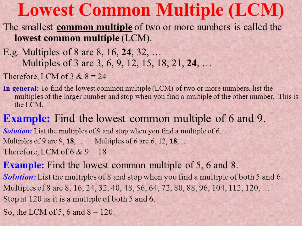 Lowest Common Multiple (LCM)