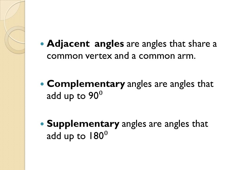 Adjacent angles are angles that share a common vertex and a common arm.