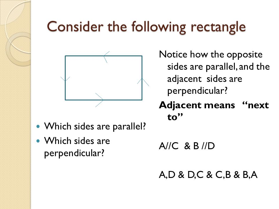 Consider the following rectangle
