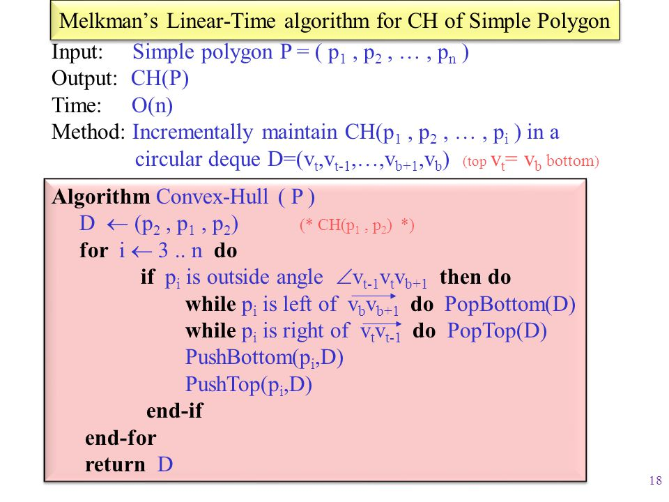 Melkman's Linear-Time algorithm for CH of Simple Polygon