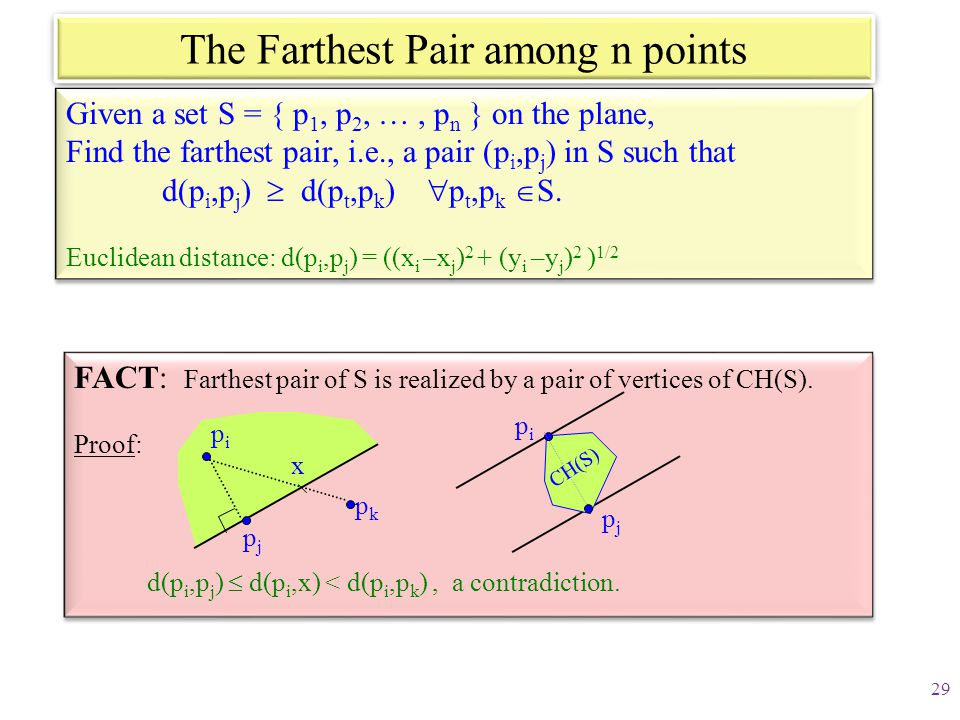 The Farthest Pair among n points