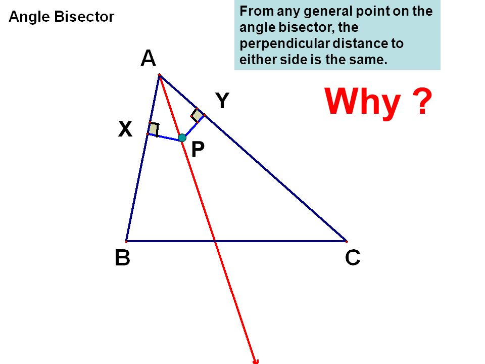 From any general point on the angle bisector, the perpendicular distance to either side is the same.