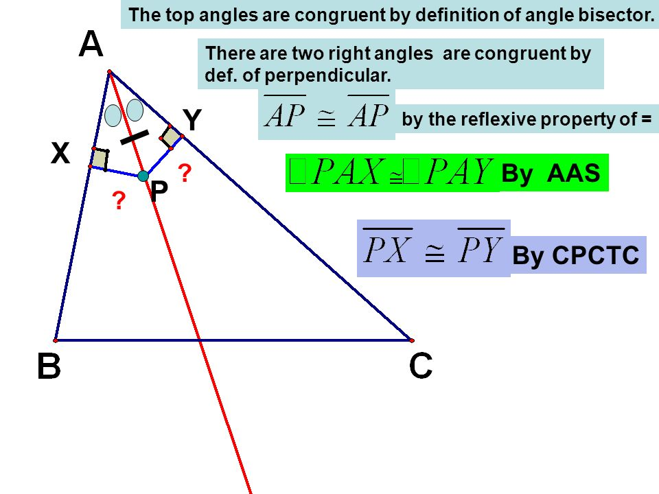 The top angles are congruent by definition of angle bisector.