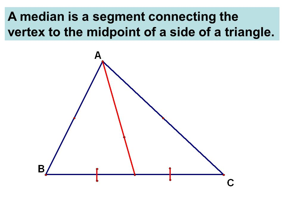 A median is a segment connecting the vertex to the midpoint of a side of a triangle.