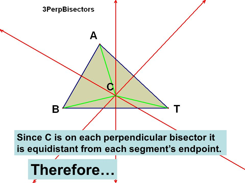 Since C is on each perpendicular bisector it is equidistant from each segment's endpoint.
