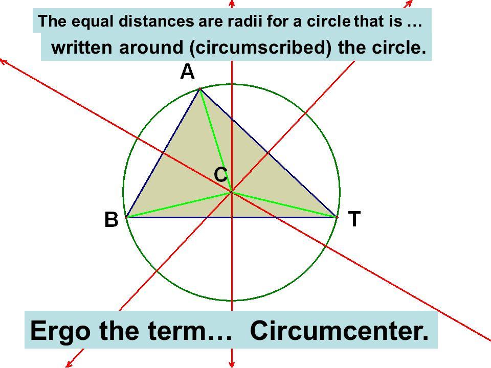 Ergo the term… Circumcenter.