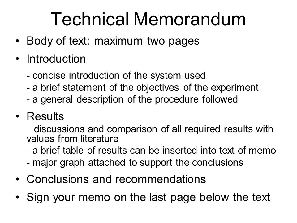 Technical Memorandum Body of text: maximum two pages Introduction