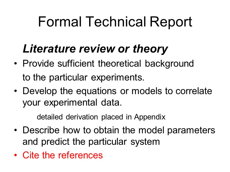 Formal Technical Report