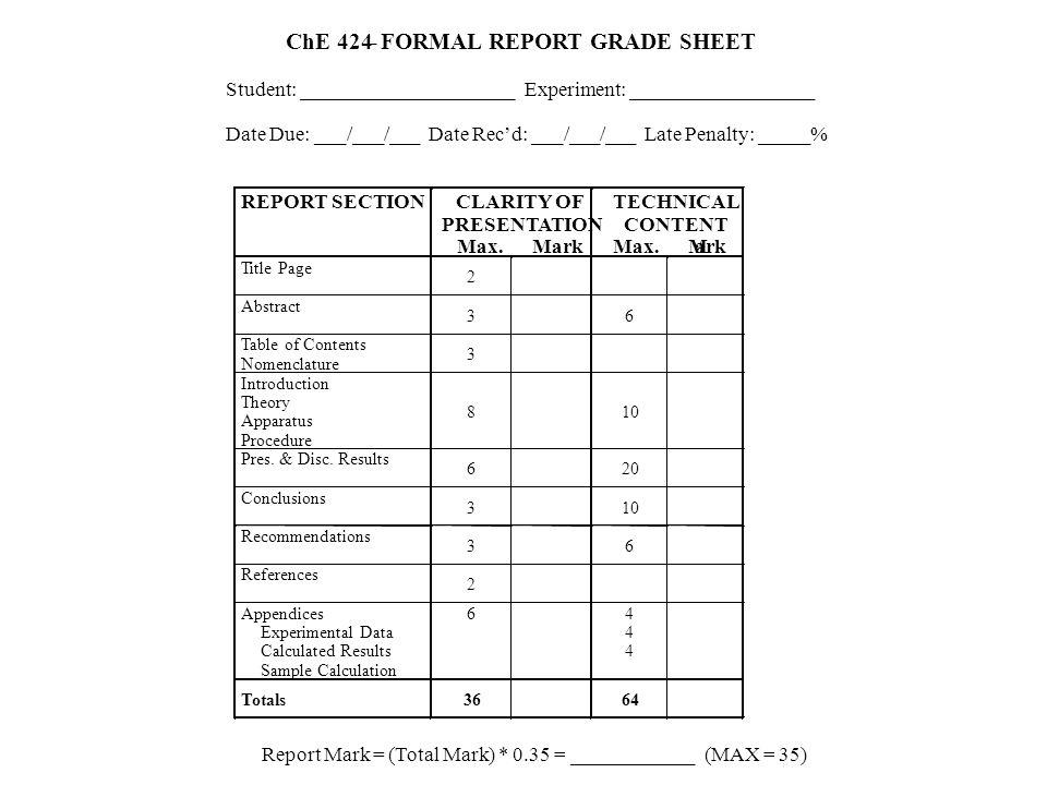 FORMAL REPORT GRADE SHEET