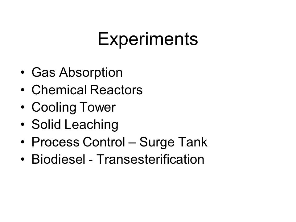 Experiments Gas Absorption Chemical Reactors Cooling Tower