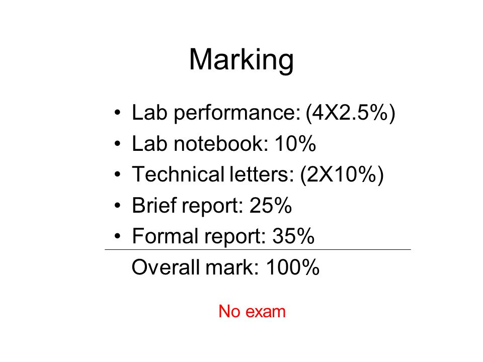 Marking Lab performance: (4X2.5%) Lab notebook: 10%