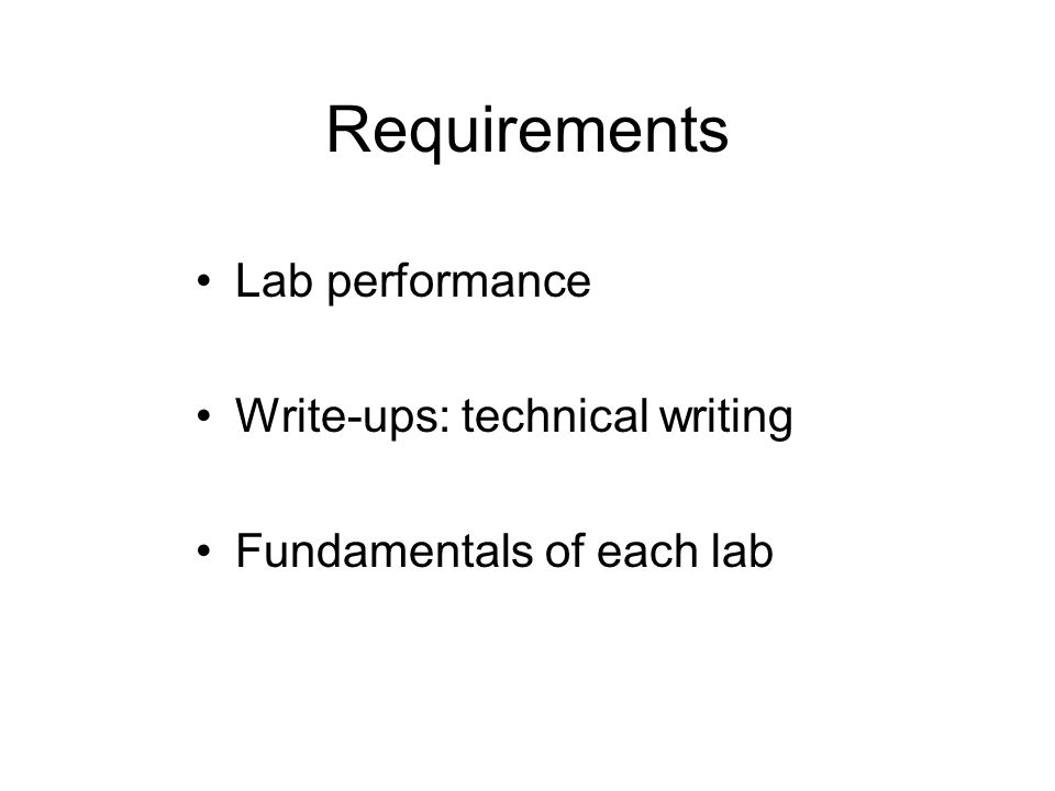 Requirements Lab performance Write-ups: technical writing