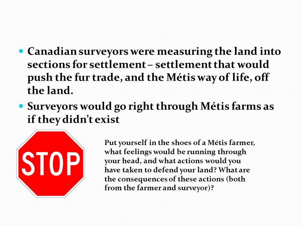 Surveyors would go right through Métis farms as if they didn't exist