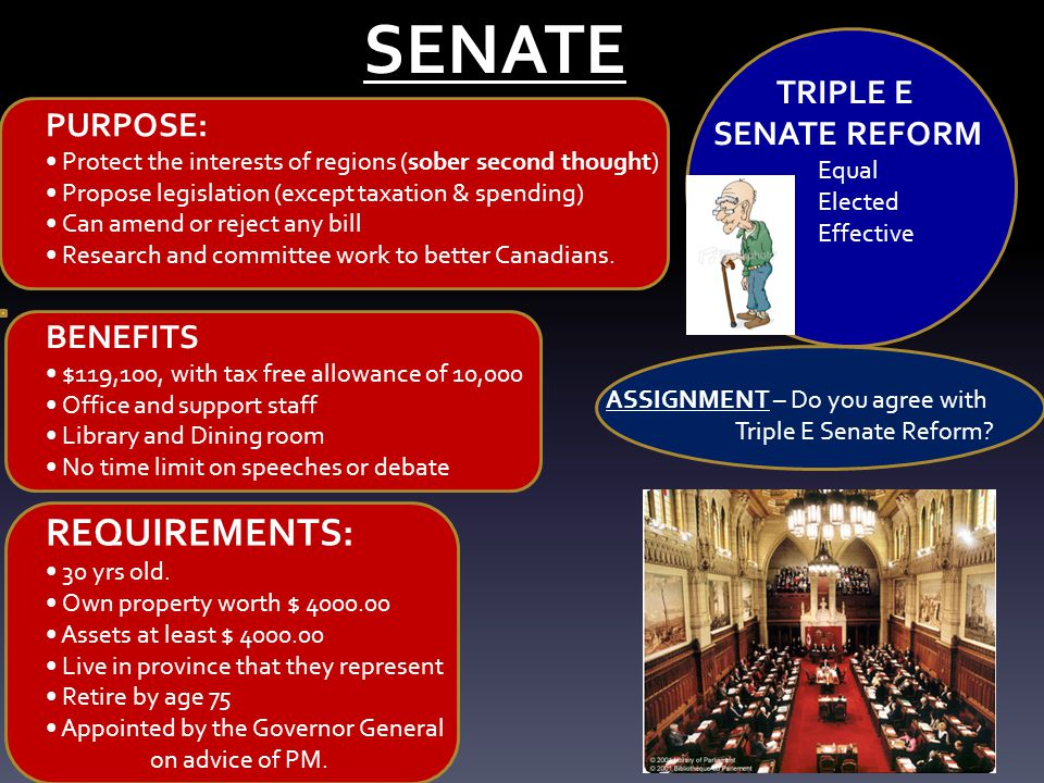 SENATE REQUIREMENTS: TRIPLE E SENATE REFORM PURPOSE: BENEFITS Equal